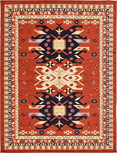 Unique Loom Taftan Collection Geometric Tribal Terracotta Area Rug (9' 0 x 12' 0) (Terra Cotta Rug)