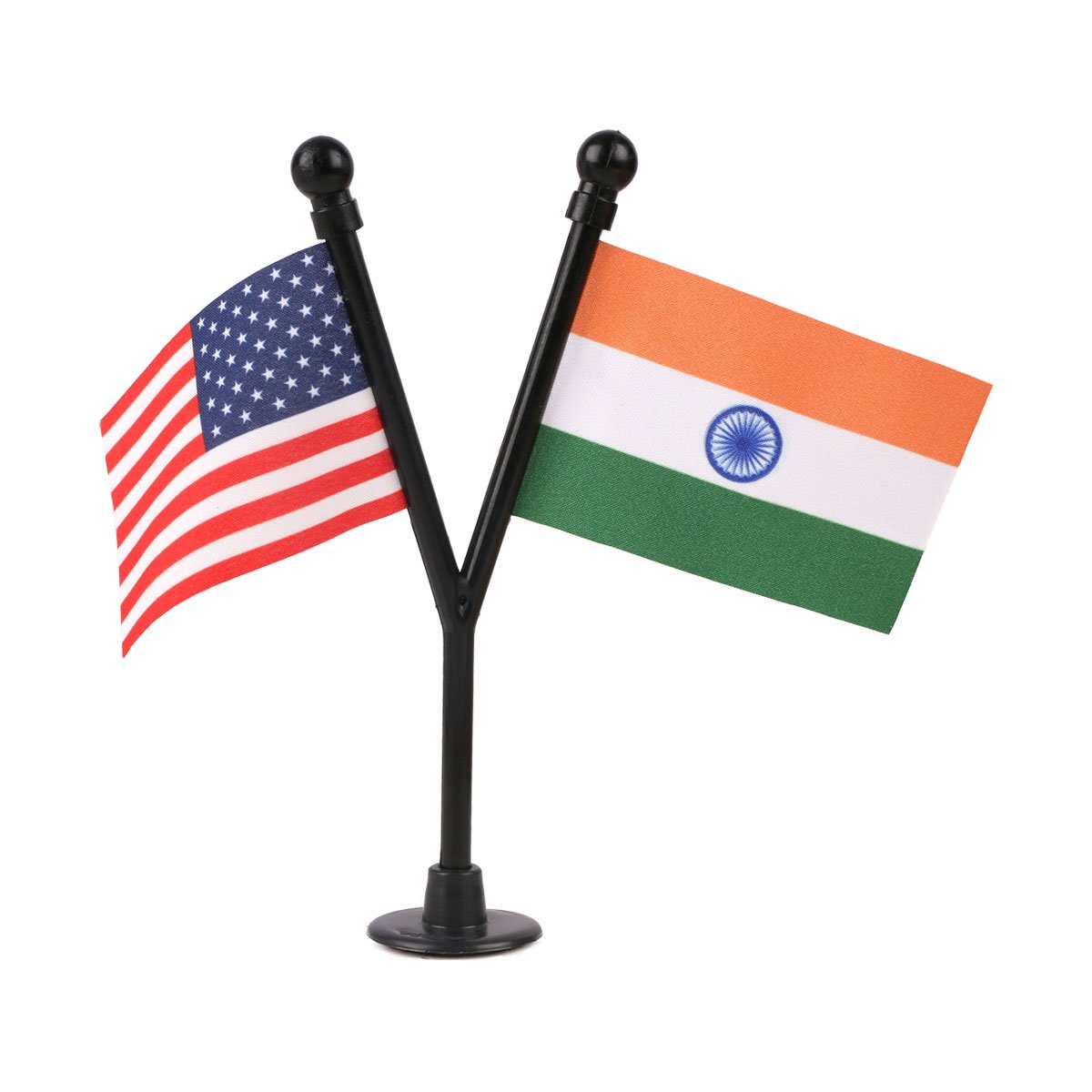 USA & India Miniature Car Dashboard Flags with A Black Y-Staff & Plastic Nano Base