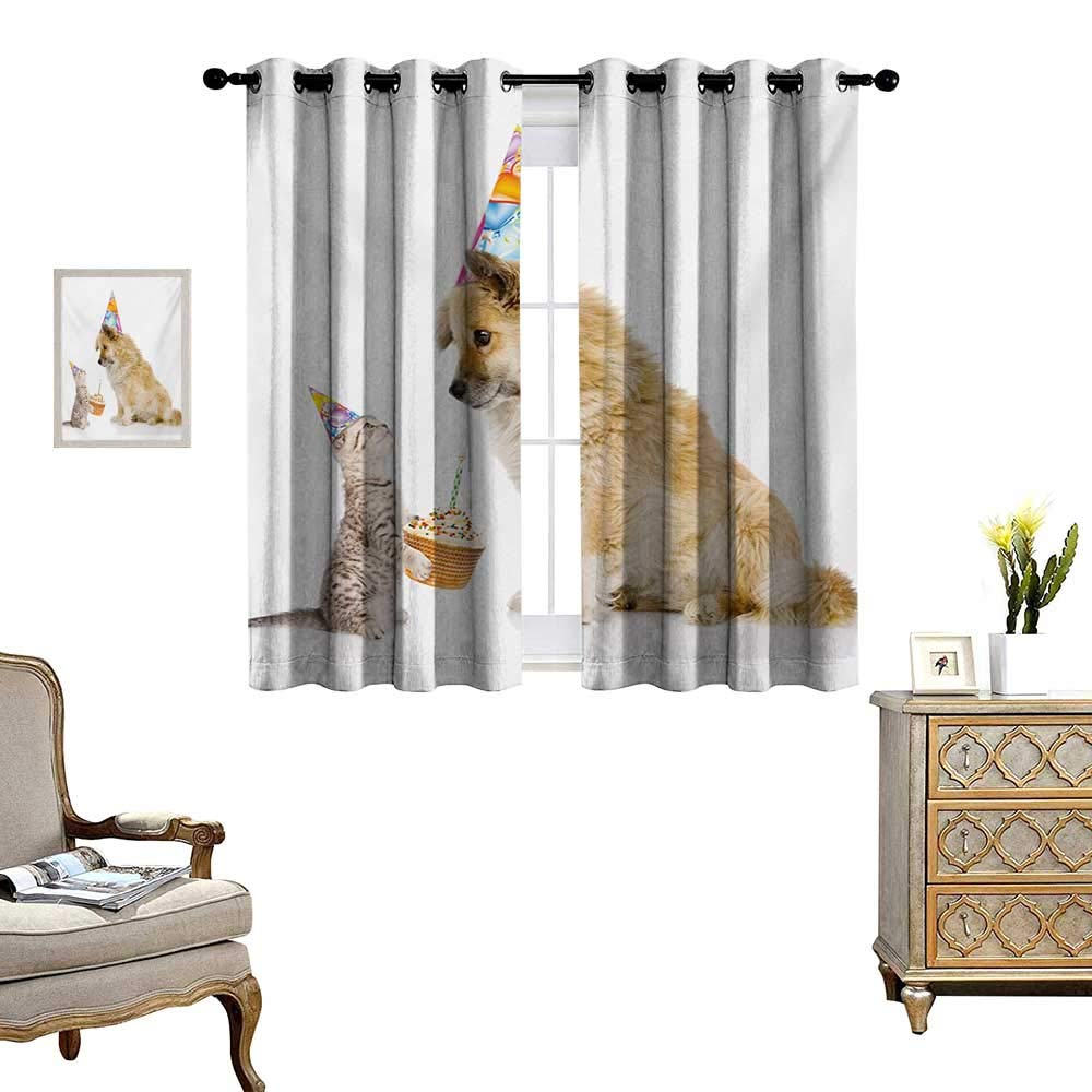 Kids Birthday Waterproof Window Curtain Cat and Dog Domestic Animals Human Best Friend Party with Cupcake and Candle Blackout Draperies for Bedroom W63 x L63 Multicolor by WinfreyDecor