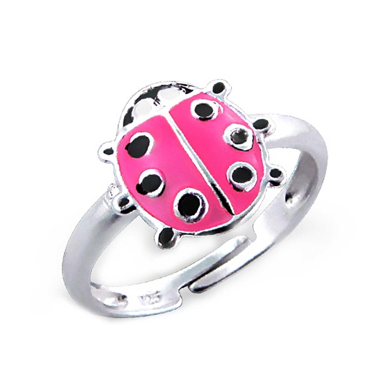 SL-Silver Mädchen Damen Ring Pinker Marienkäfer Grösse einstellbar 925 Sterling Silber in Geschenkverpackung SL-kinderring44