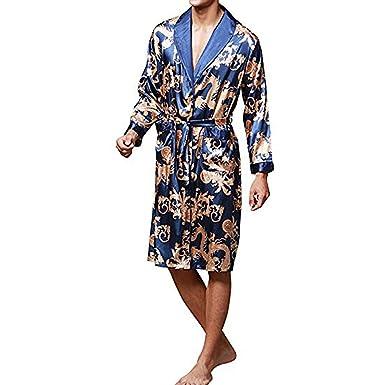 YIMANIE Men s Satin Robe Dragon Luxurious Silk Spa Long Sleeve House Kimono  Bathrobe a3036c519