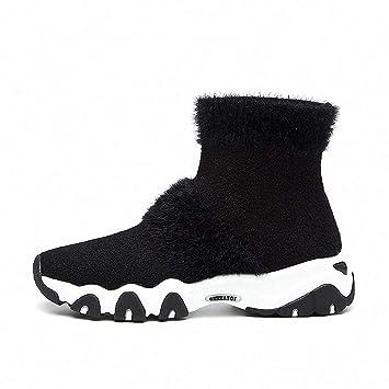 Lucdespo Señoras Zapatos Casuales Otoño Invierno Botas Cortas Suéter de Punto Calcetines Cómodo Bottom Cómodo Colegio