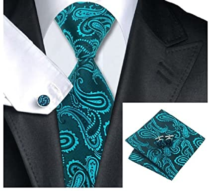 aad6a2a9a1f3 Image Unavailable. Image not available for. Colour: Teal Paisley Silk tie  Matching Pocket Square ...