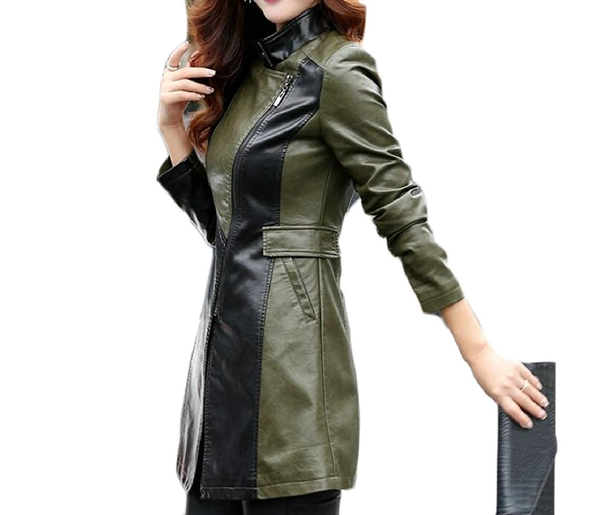 2 pujinggeCA Women's Slim Notch Lapel Front Zipper Mid Long PU Leather Jacket Coats