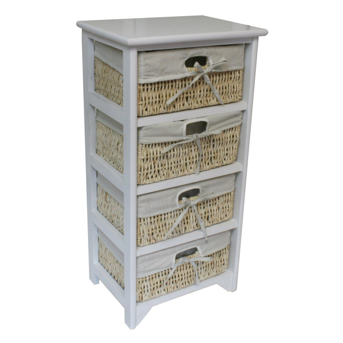 BTM 4 Drawer Wooden Storage Wardrobe Cabinet with Maize Wicker Drawers/ Baskets Bedroom / Bathroom ,40 x 29 x 73 cm White (XL)