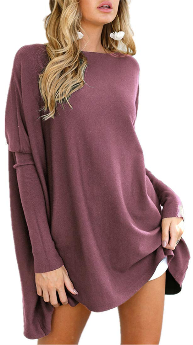 LIYOHON Women's Oversized T-Shirt Round Neck Long Sleeve Loose Sweaters Tunic Tops for Women