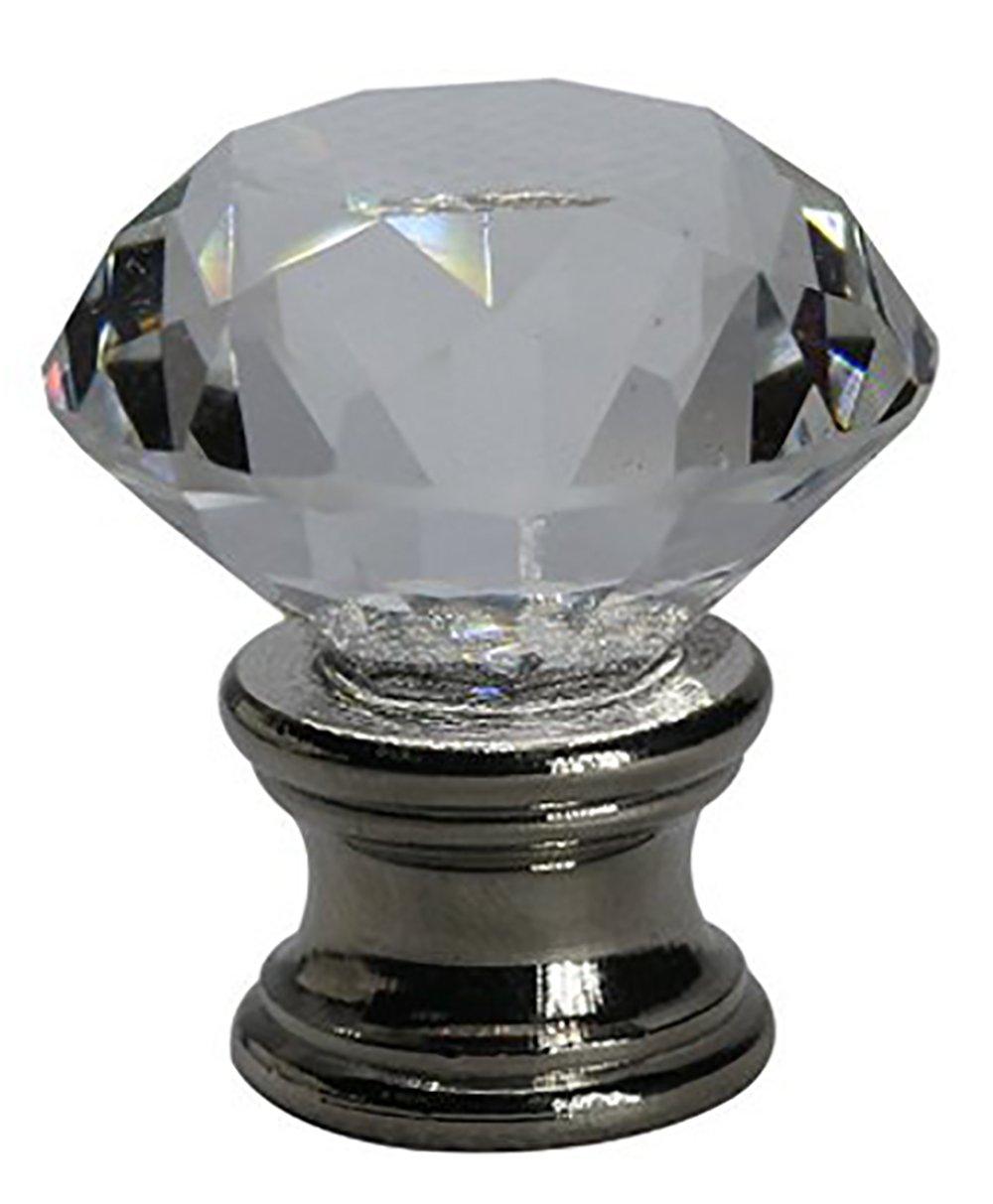 Urbanest Crystal Duchess Lamp Finial, Brushed Steel Base