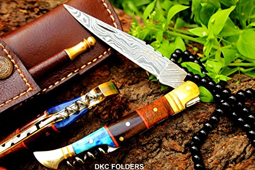 DKC-55-BLUE-SQUIRE-Brass-Bolster-Damascus-Steel-Pocket-Folding-Laguiole-Style-Pocket-Knife-45-Folded-8-Long-25oz-oz-High-Class-Looks-Incredible-Hand-Made-DKC-Knives