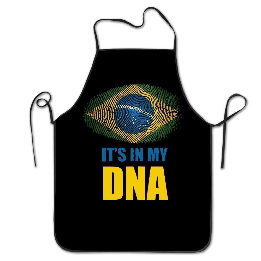 amiuhoun Brazil It's In My DNA ブラジル国旗 レディース メンズ キッチン よだれかけ エプロン スーパーマーケット オーバーオール ティーショップ 調節可能なネックシェフエプロン   B07GR8RXTF