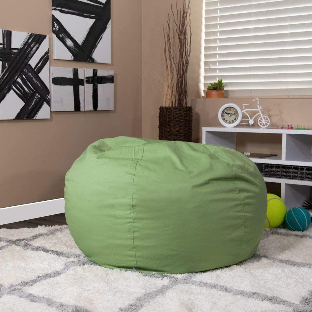 Flash Furniture Oversized Solid Green Bean Bag Chair for Kids and Adults