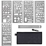 Arts & Crafts : Paxcoo 6 Pcs Stainless Steel Journal Stencils with Template Ruler for Bullet Journal Planner Painting Drawing