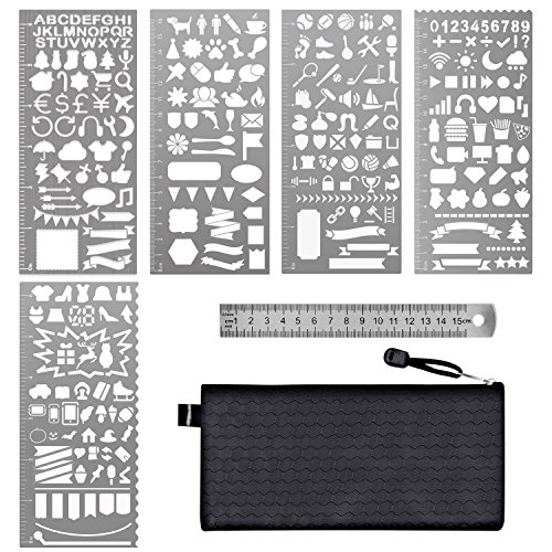 Paxcoo 6 Pcs Stainless Steel Journal Stencils With Template Ruler For Bullet Planner Painting Drawing