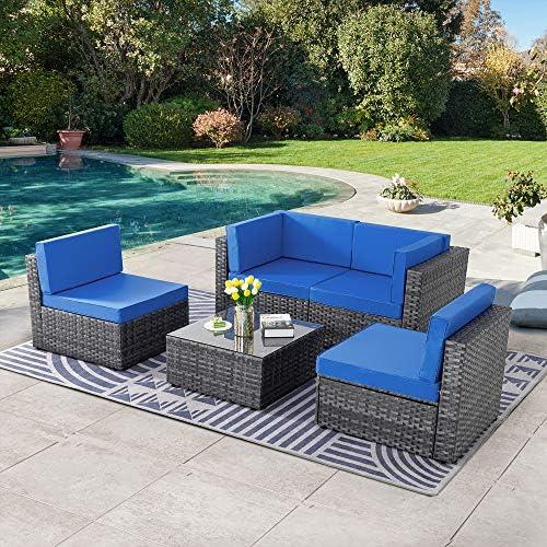 SUNLEI 5pcs Patio Conversation Set Outdoor Furniture...
