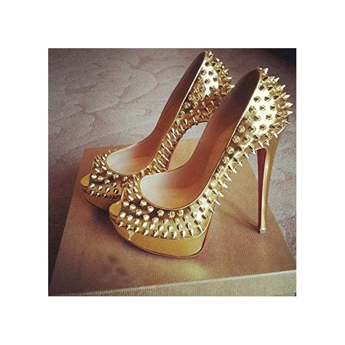 Vivioo Prom Sandals Shoes beautiful Fashion gold Leather 12 5 Cm High-heeled Shoes rivets Shoes peep Toe Pumps size 34-45 gold 6 5