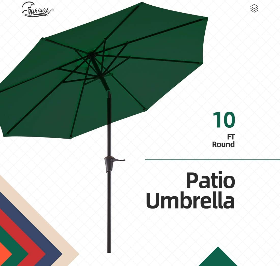 wikiwiki 10ft Patio Umbrella Outdoor Market Table Umbrella with Push Button Tilt and Crank Pine Green