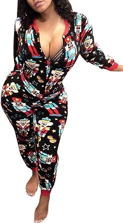 Womens One Piece Onsie Print Sleepwear Ugly Christmas Pajamas Jumpsuit Rompers Clubwear Nightwear