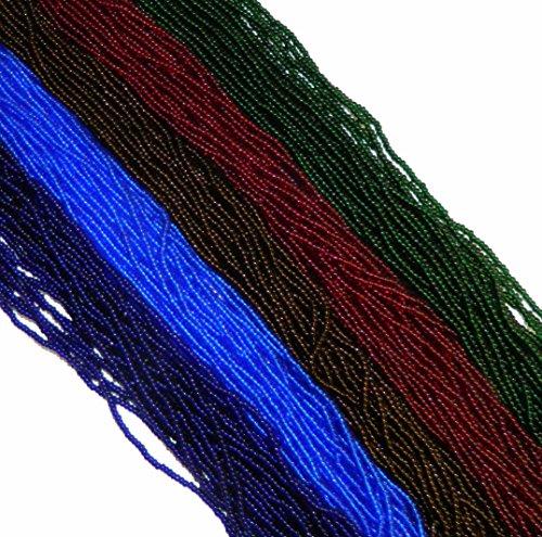 (Dark Green Blue Red Mix Transparent Czech 11/0 Glass Seed Beads 5 Full Hanks Preciosa )
