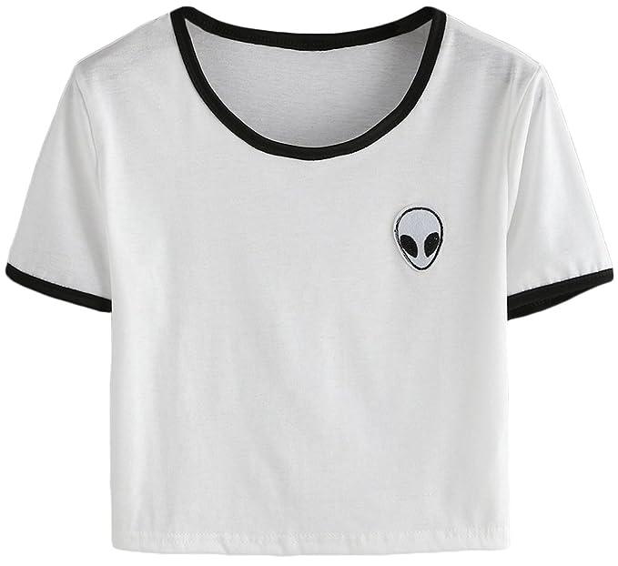 OLIPHEE Mujer Camisetas con Extraterrestre Impresa Camisetas Bolero Mujer Verano: Amazon.es: Ropa y accesorios