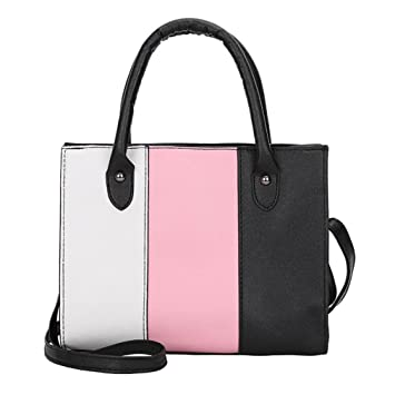 246373b5cbb3 ChainSee Color Blocking Leather Messenger Crossbody Satchel Tote Handbag  Shoulder Bag for Women Girl (Pink)