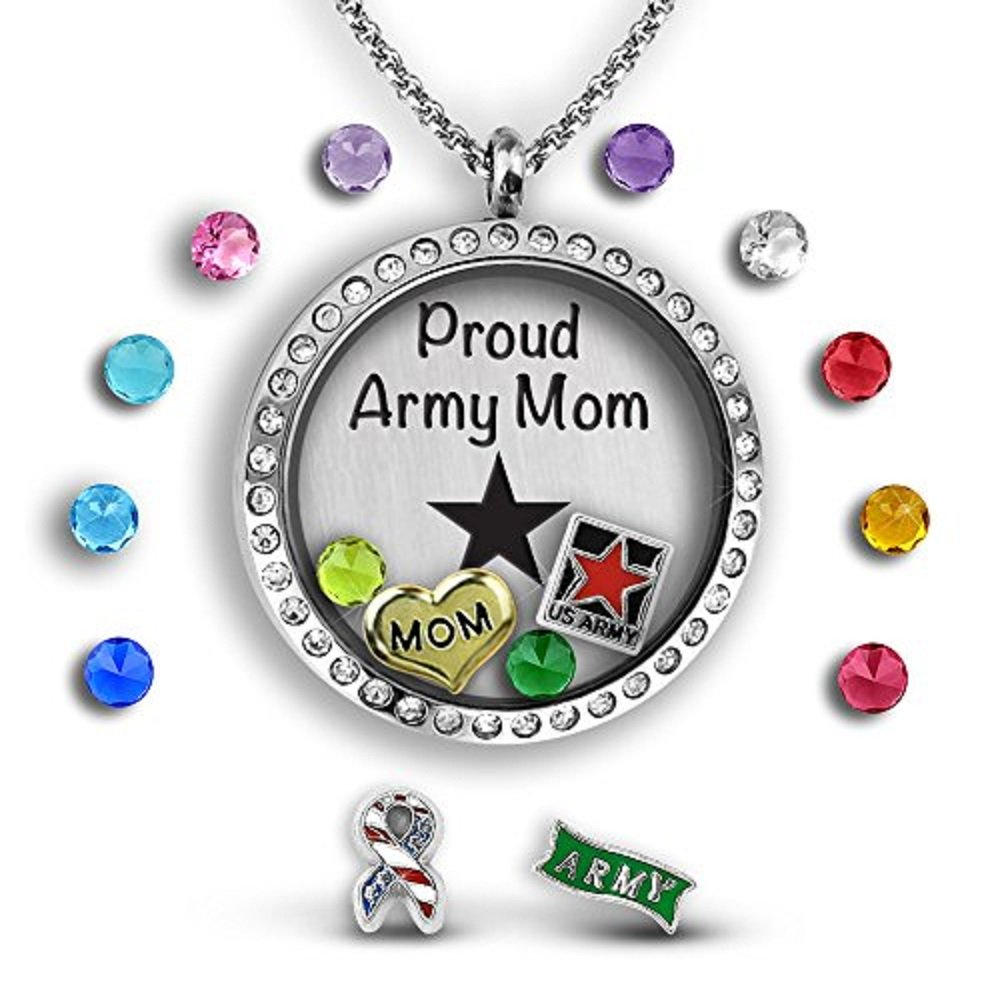 A Touch of Dazzle Army Mom Jewelry Military Mom Pendant Necklace 30mm Floating Locket Charm Necklace