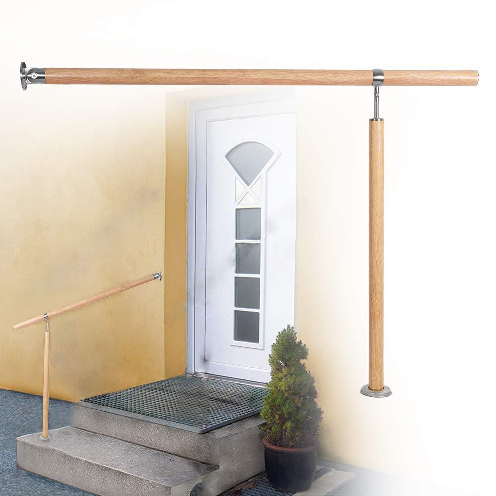 L x H AUFUN Eingangsgel/änder Handlauf Gel/änder f/ür Treppen Wandhandlauf Treppengel/änder aus Alu Winkel Einstellbar f/ür Drinnen und Drau/ßen Treppenhaus 80 x 90 cm Leichte Holzmaserung
