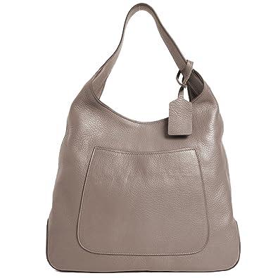 Amazon.com  Prada Women s Argilla Grey Leather Large Hobo Handbag 1BC006   Shoes