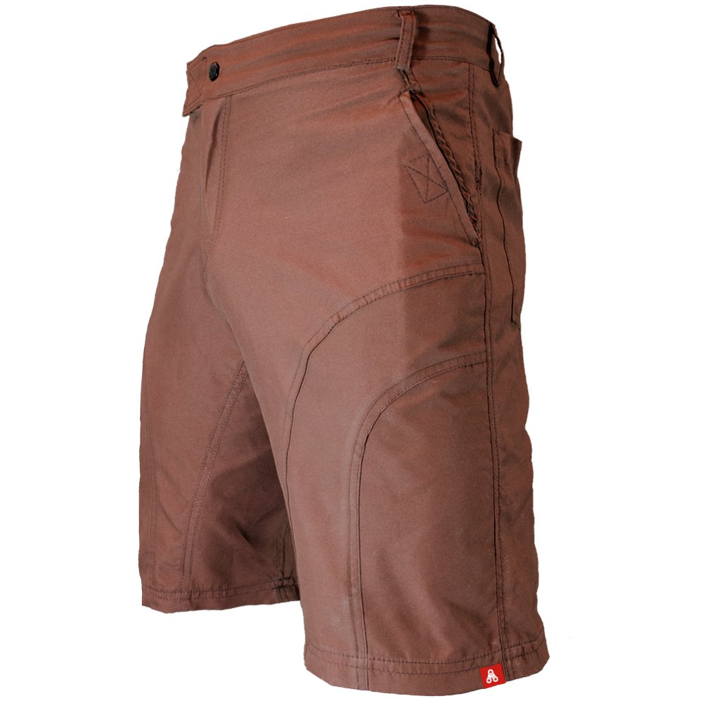 The Pub Crawler - Men's Loose-Fit Bike Shorts for Commuter Cycling or Mountain Biking, with Secure Pockets (Small, Brown - Without Padded Undershorts)
