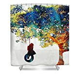 Pixels Shower Curtain (74'' x 71'') ''Colorful Landscape Art - The Dreaming Tree - By Sharon Cummings''