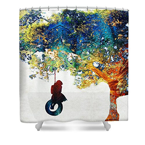 Pixels Shower Curtain (74'' x 71'') ''Colorful Landscape Art - The Dreaming Tree - By Sharon Cummings'' by Pixels
