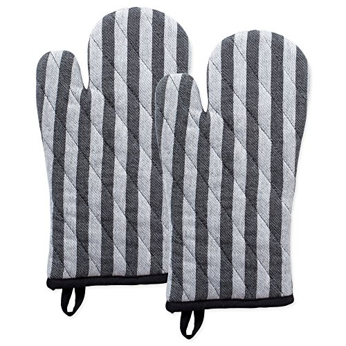 DII Cotton Heat Resistant Kitchen Oven Mitts Set Farmhouse Chic Geometric Design, Machine Washable for Every Home, (6.5x12-Set of 2), Stripe