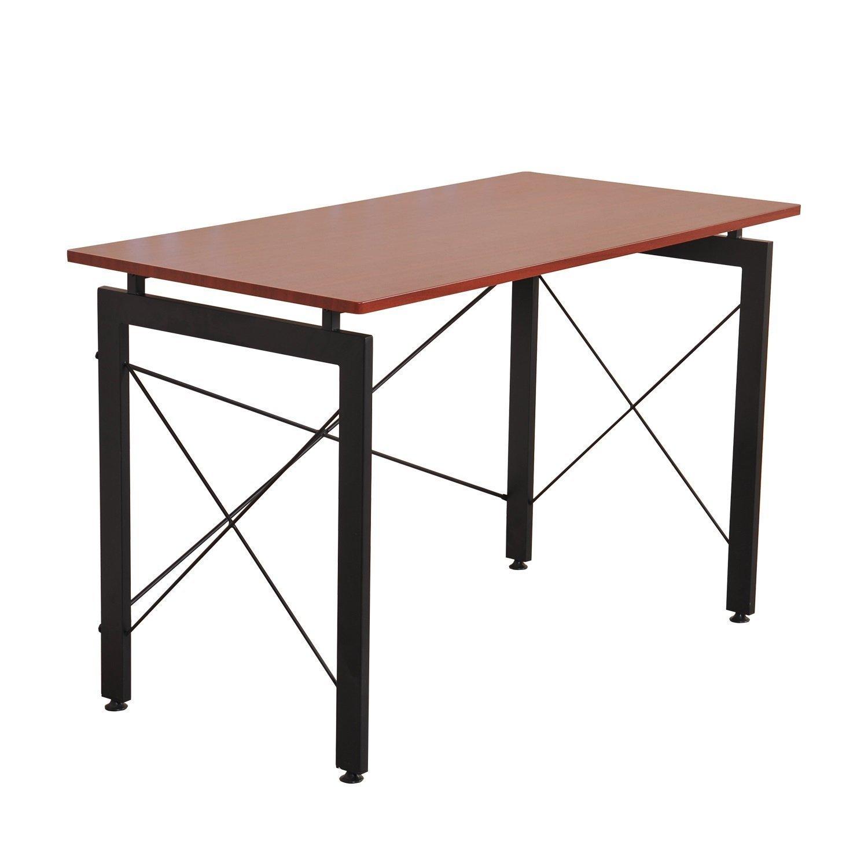 HOMCOM 48'' Sturdy Simple Late Modern Home Office Desk Workstation with Anti-Slip Feet - Brown by HOMCOM