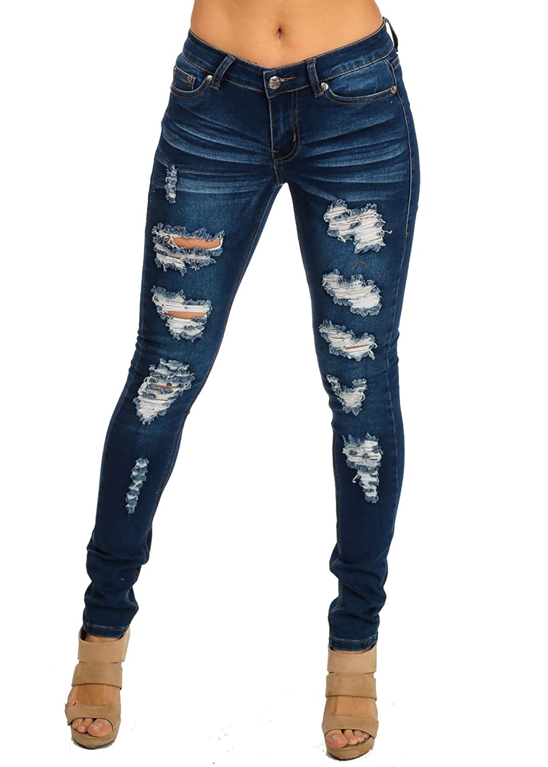 UWD Washed Ripped One-Button Low Rise Jeans 10125N