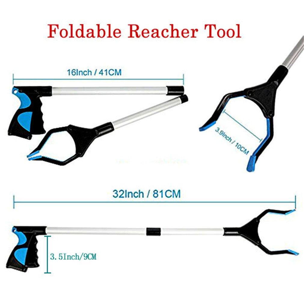 Foldable Reacher Grabber Tool Vipe 2pcs Ergonomic Lightweight Reaching Aid Reacher Tool Long Arm Reaching Claw Hand Grabber Trash Pickup Tool 32
