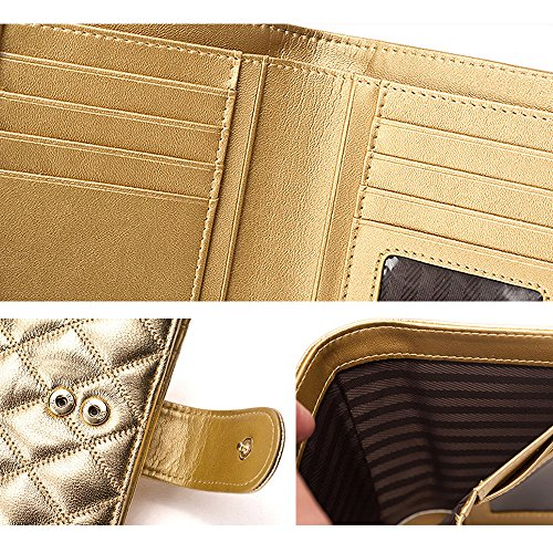 ArtemisIris Damen Elegant Compact Kurze Geldbörse Clutch Geld Change Karten Halter Organizer Mit Inneren Reißverschluss Münzen Tasche, schwarz schwarz