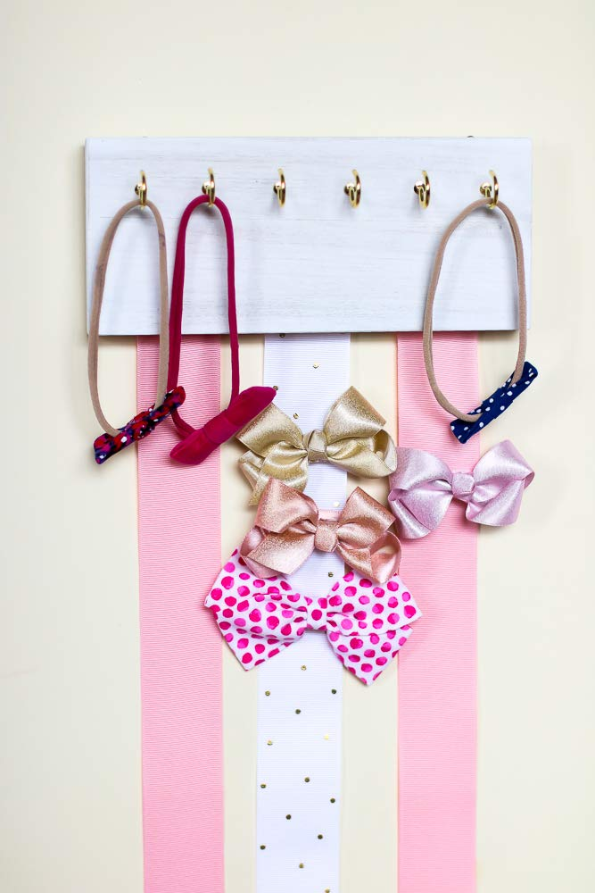 White Wood Ribbon Bow Organizer & Headband Holder/Poplar Plaque Hooks/Organizer Handmade/High Quality/Nursery Girls Room Decor / (pink white ribbon) by Wood Decor with Love