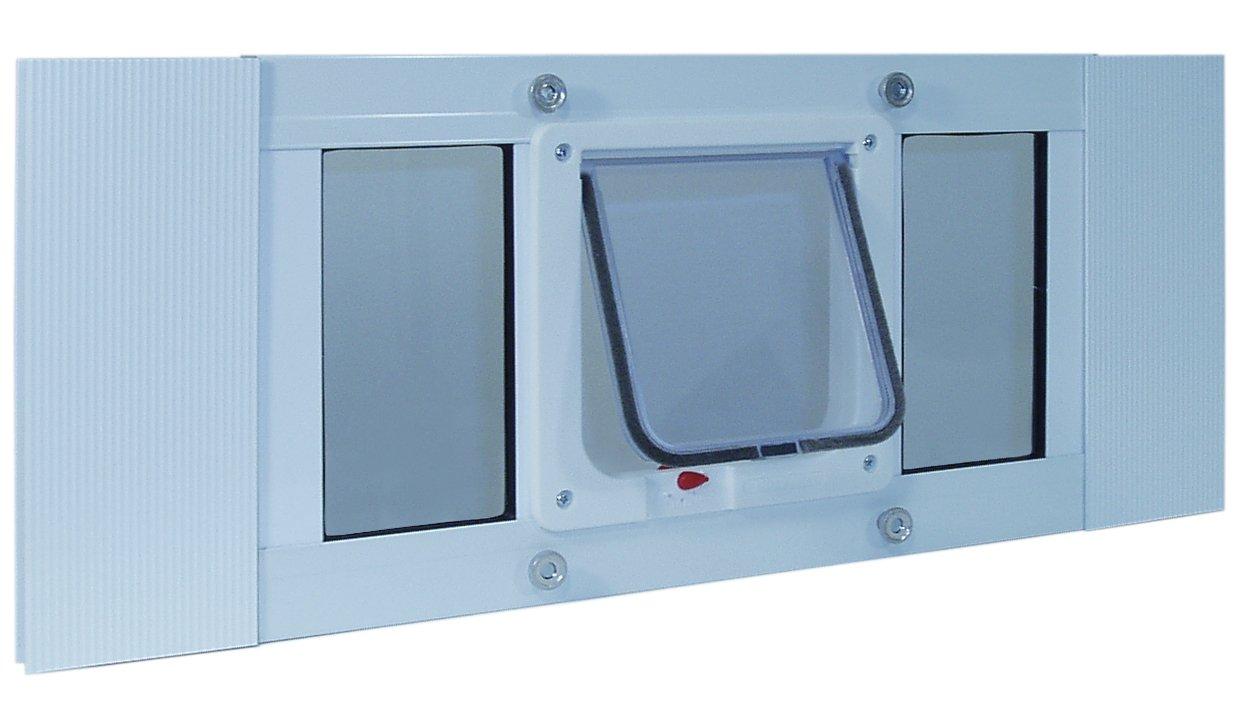 37''-42'' Window Sash Pet Door with locking cat flap (Cat Flap 6 1/4'' x 6 1/4'')