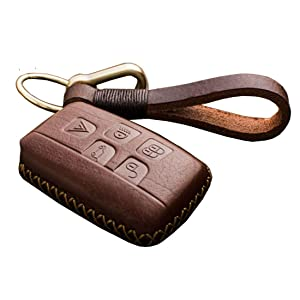 Car Smart Key FOB Genuine Leather Case Cover Protector Holder fit Land Rover Range Rover Sport Evoque LR4-5 Buttons (Brown)