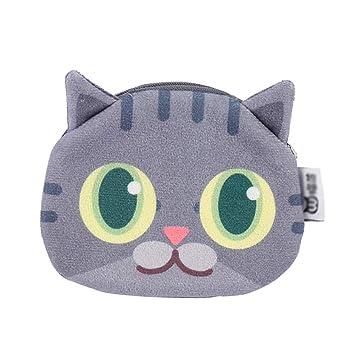 Scrox 1x Monedero Mini Gato de Ojos Grandes Cremallera Bolsa de Auriculares Cartera Mujer Lindo Pequeño Billetera Felpa Creativo Bolsa de Monedas (G)