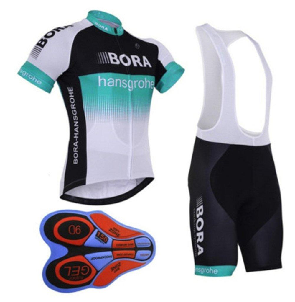 HnjPama Pro Team Summer Unisex Cycling Jersey Set Bib Shorts Bora Print Bamboo Fiber Cycling Jersey-Blue-XXXL AECJ002
