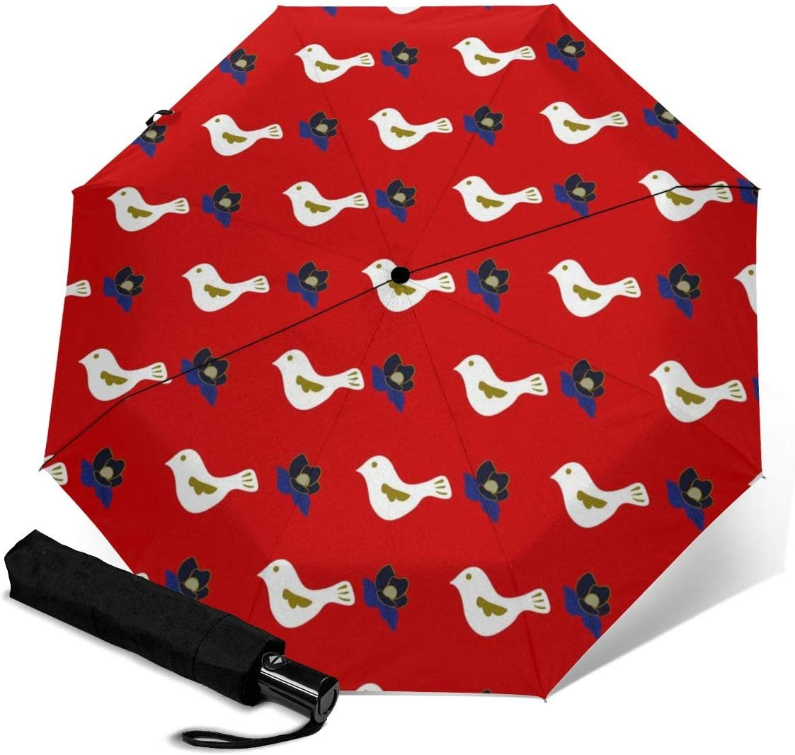 Doves And Magnolias Automatic Folding Umbrella Super Sunscreen Rain Portable Creative UV Protection Tri-Fold Umbrella