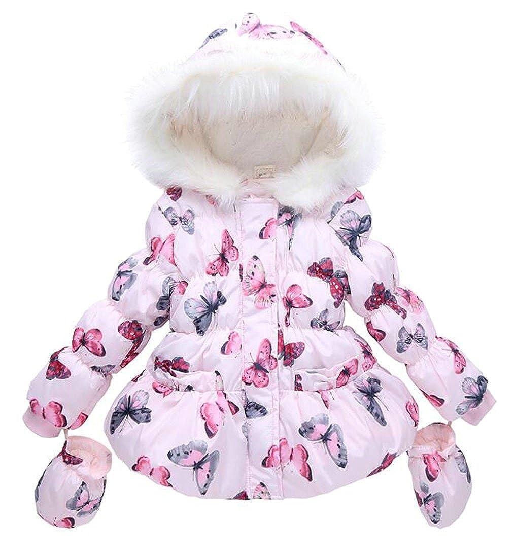 XQS Girls' Winter Butterfly Fleece-Lined Bubble Hooded Jackets Coat