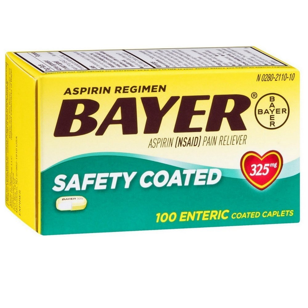 Bayer Aspirin Pain Reliever Safety Coated Enteric Caplets, 325 mg, 100 ea (Pack of 11) by Bayer