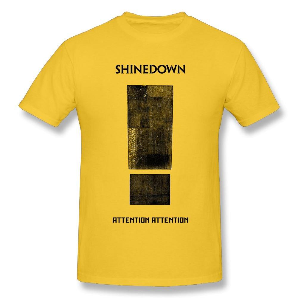 CynthiaH Shinedown Attention Attention Mens T-Shirts Yellow XL