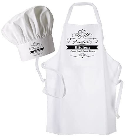 Da donna stampa personalizzato cucina grembiule e cappello da chef  personalizzato con un nome a scelta 6a4d39facddc