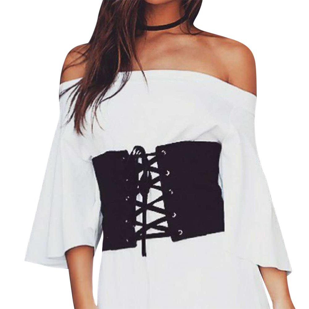 iShine Ceinture Femme Elastique Noir 21 cm de Largeur Nouvelle Style  Gothique Lacet Bandage Waist Corset Dame Oeillet Elevé Plaine par Cuir  Artificiel ... 69523f38a8f