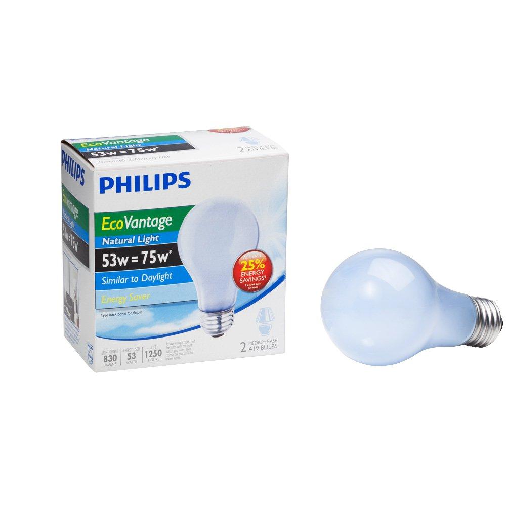 Philips 226969 53-Watt A19 Halogen Light Bulb Natural Light Dimmable 2-Pack - Halogen Bulbs - Amazon.com  sc 1 st  Amazon.com & Philips 226969 53-Watt A19 Halogen Light Bulb Natural Light ... azcodes.com