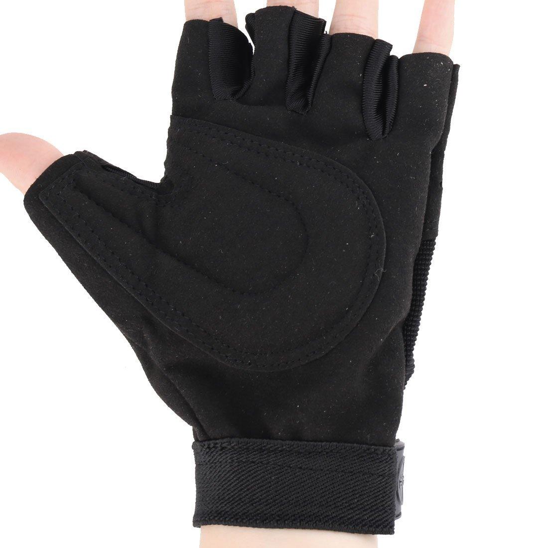 Amazon.com: eDealMax neopreno Medio dedo guantes de entrenamiento Deportivo Diseño Manos Protector Par Negro: Health & Personal Care
