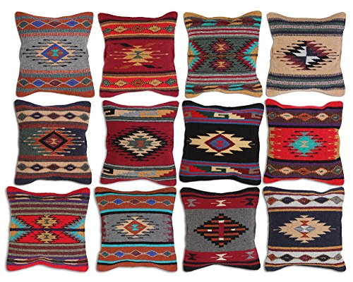 Aztec Throw Pillow Covers, 18 X 18, Hand Woven in Southwest and Native American Styles. (Teal Maroon Diamond)