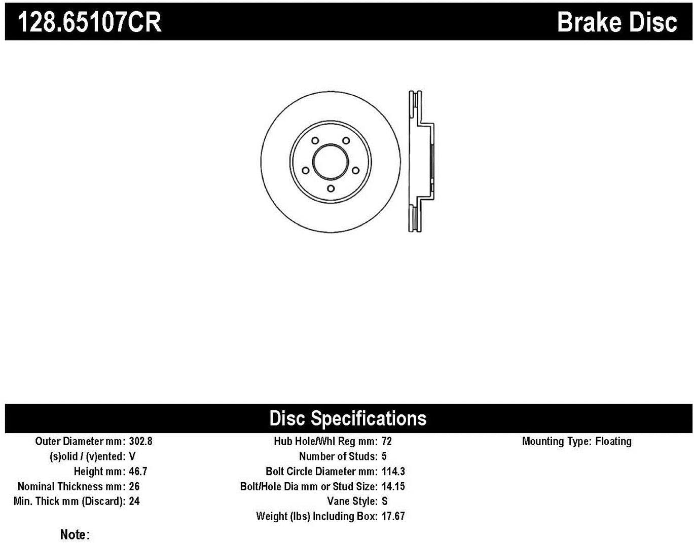 StopTech Brake Rotor 128.65107CR