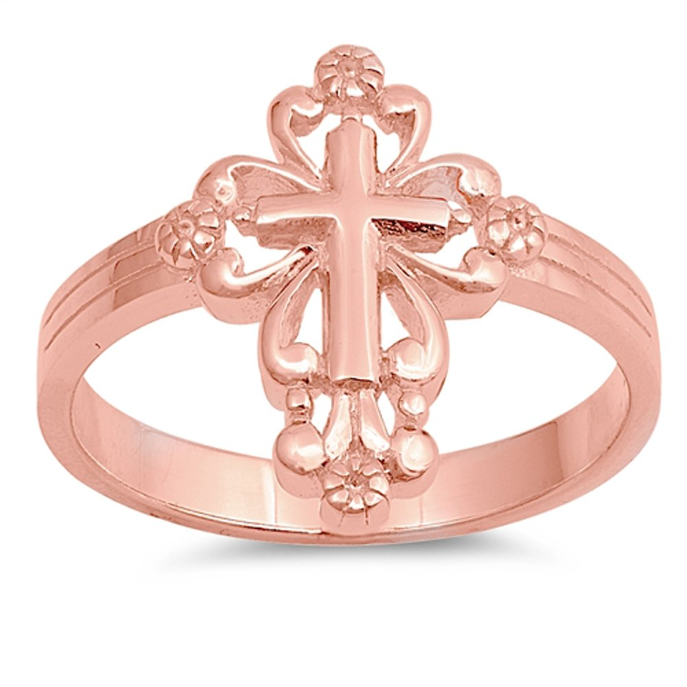 Rose Gold-Tone Victorian Style Cross Ring .925 Sterling Silver Band Size 7 by Sac Silver